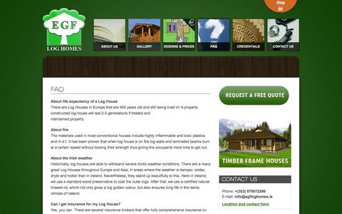 Screenshot of FAQ Page egfloghomes.ie - FAQ - Quality Log homes, Log cabins, Garden houses, Timber Frame Houses in Ireland - captured Sept. 26, 2014