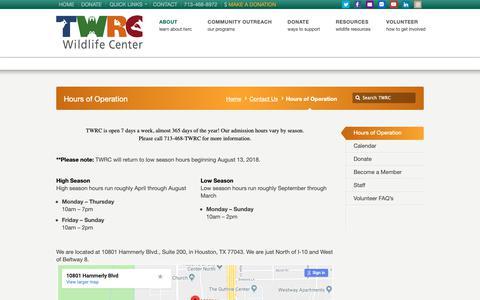 Screenshot of Hours Page twrcwildlifecenter.org - Hours of Operation | TWRC Wildlife Center - captured Oct. 19, 2018