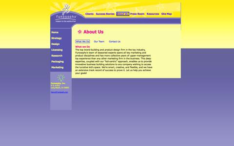 Screenshot of About Page funosophy.com - What we do at Funosophy, one of the top toy invention and toy consulting firms in the toy industry - captured Oct. 6, 2014