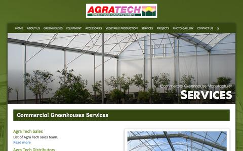 Screenshot of Services Page agratech.com - Commercial Greenhouse Manufacturer | Metal Structure | Vegetable - captured Jan. 24, 2017