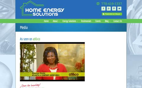Screenshot of Press Page hesnow.com - Media • Home Energy Solutions - captured Oct. 3, 2014
