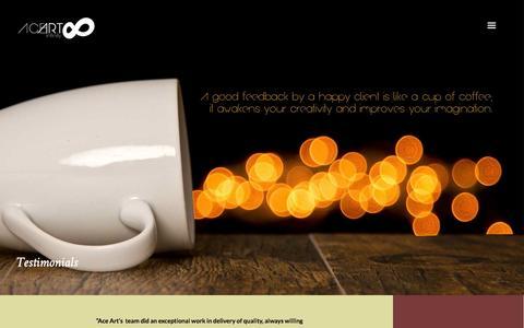 Screenshot of Testimonials Page aceart00.com - Testimonials | Ace Art ∞ Advertising & Design Studio - captured Oct. 4, 2014