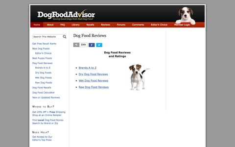 Screenshot of Home Page dogfoodadvisor.com - Dog Food Reviews and Ratings | Dog Food Advisor — Dog Food Reviews and Ratings - captured March 23, 2018