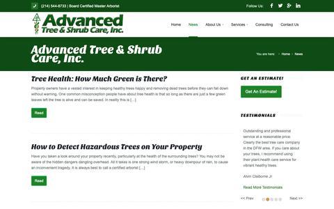 Screenshot of Press Page advancedtreecareinc.com - News - Advanced Tree & Shrub Care, Inc. - captured Oct. 3, 2018