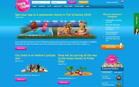 Screenshot of Press Page verajohn.com - Casino news | Vera&John - captured Aug. 4, 2016