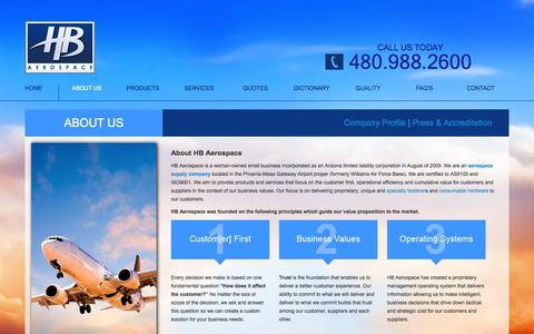 Screenshot of About Page hbaerospace.com - About Us | Aerospace Supply Company | HB Aerospace - captured Sept. 26, 2014