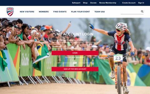 Screenshot of Login Page usacycling.org - USA Cycling - Bike Racing and Events | USA Cycling - captured Nov. 1, 2018