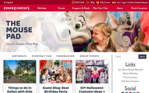 Screenshot of Blog chuckecheese.com - Mouse Pad Blog | Chuck E. Cheese's - captured Nov. 3, 2018