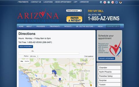 Screenshot of Maps & Directions Page azvascular.com - Directions to Arizona Vein & Vascular Center - captured Feb. 6, 2016