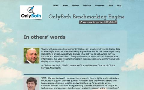 Screenshot of Testimonials Page onlyboth.com - OnlyBoth Benchmarking Engine | Testimonials - captured Nov. 29, 2016