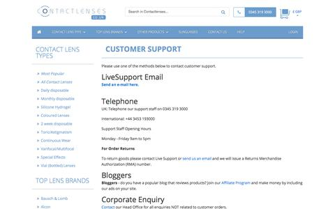 Screenshot of Support Page contactlenses.co.uk - Customer Support :: Contact Lenses :: Contact Lenses - captured Sept. 24, 2018