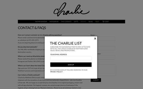 Screenshot of Contact Page charliebymz.com - Contact & FAQs | Charlie By MZ - captured Nov. 5, 2016