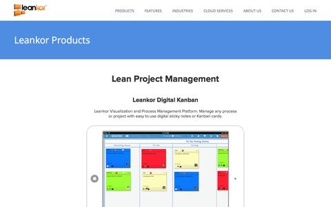 Screenshot of Products Page leankor.com - Lean Project Management | Leankor - Lean Project Management - captured Sept. 23, 2014