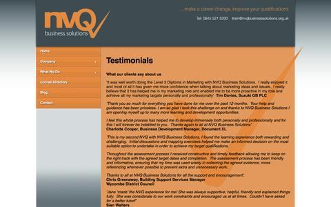 Screenshot of Testimonials Page nvqbusinesssolutions.org.uk - Testimonials | NVQ Business Solutions - NVQ Training, NVQ Development, NVQ Qualifications - captured Oct. 6, 2014