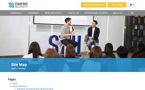 Screenshot of Site Map Page stamford.edu - Site Map - Stamford International University (Thailand) - captured Oct. 1, 2018