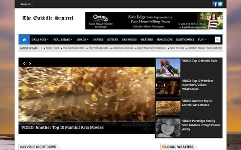 Screenshot of Home Page theoakvillesquirrel.com - The Oakville Squirrel - captured Sept. 4, 2015
