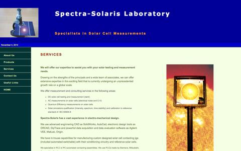 Screenshot of Services Page spectra-solaris.com - Spectra-Solaris - Services - captured Nov. 4, 2014