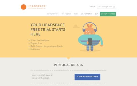 Screenshot of Trial Page headspace.com - Headspace - captured Sept. 23, 2014