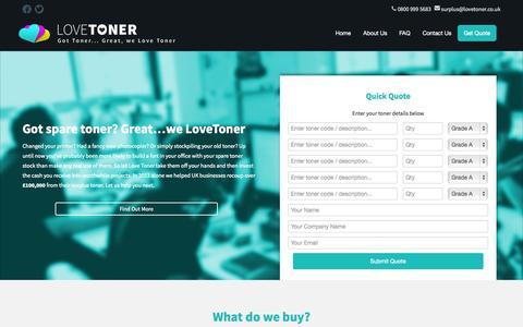 Screenshot of Home Page lovetoner.co.uk - Love Toner   Sell Your Toner   Got spare toner? Great…we LoveToner - captured Sept. 18, 2015