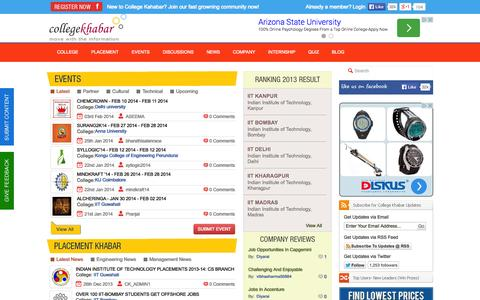 Screenshot of Home Page collegekhabar.com - College Khabar - Engineering Placement News, Student College Reviews, Company Reviews, College Events,Placement Papers, Student Interviews - captured Sept. 19, 2014