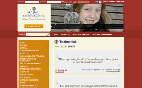 Screenshot of Testimonials Page askbhsc.org - Testimonials - captured Oct. 5, 2014