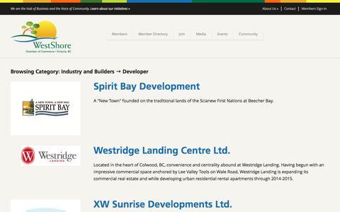 Screenshot of Developers Page westshore.bc.ca - Developer Archives - WestShore Chamber of Commerce - captured Nov. 29, 2016