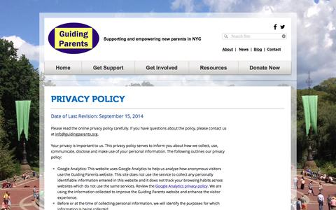 Screenshot of Privacy Page guidingparents.org - GUIDING PARENTS | Supporting and empowering new parents in NYC | Privacy Policy - captured Nov. 16, 2016