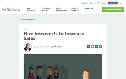Screenshot of Blog vinsolutions.com - VinSolutions - Blog - Hire Introverts to Increase Sales - captured Dec. 3, 2019