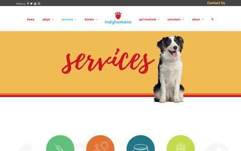 Screenshot of Services Page indyhumane.org - Services – IndyHumane - captured Sept. 30, 2018
