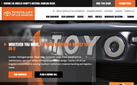 Screenshot of Home Page toyota-lift.com - Toyota Lift of Los Angeles - captured Nov. 18, 2018