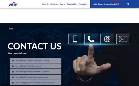 Screenshot of Contact Page jsw.in - JSW - Contact Us - captured Sept. 20, 2018