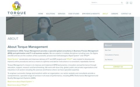 Screenshot of About Page torquemanagement.com - About Torque Management BPM Consultancy - Lean, Six Sigma, ISO - captured Jan. 29, 2016