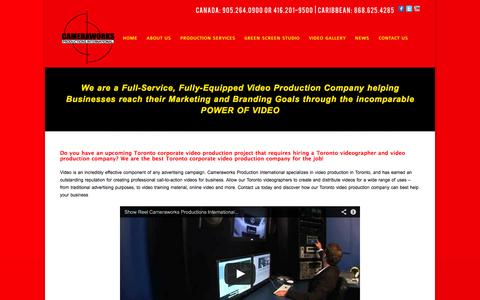 Screenshot of Home Page cameraworksint.com - Hire a Toronto Videographer-Premiere Toronto Video Production - captured Oct. 1, 2014