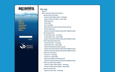 Screenshot of Site Map Page aquamira.com - Aquamira Water Treatment Products         —         Aquamira Water Treatment Products - captured Sept. 19, 2014