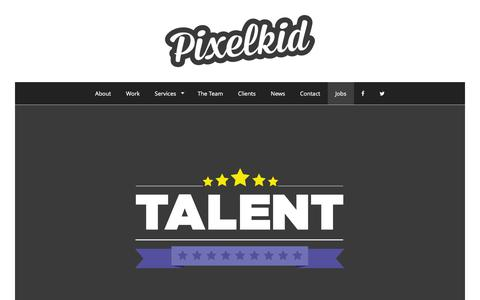 Screenshot of Jobs Page pixelkid.co.uk - Jobs | Pixelkid Design – Motion Graphic Design - captured Jan. 28, 2016