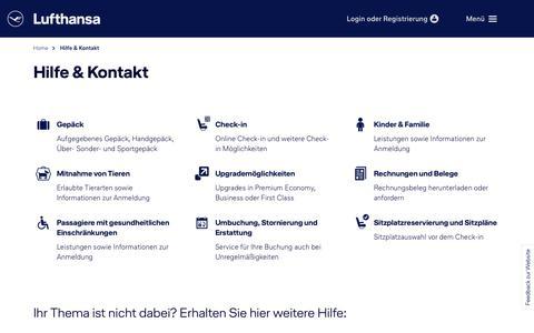 Screenshot of Support Page lufthansa.com - Hilfe & Kontakt - captured Nov. 7, 2018