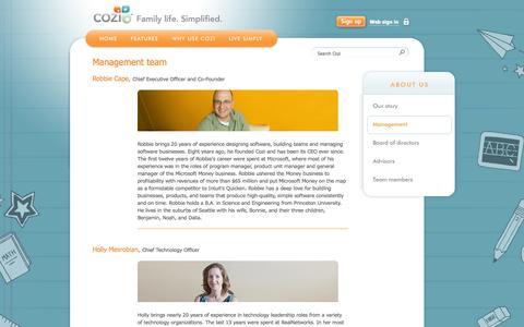 Screenshot of Team Page cozi.com - About - Management Team | Cozi - captured Sept. 13, 2014