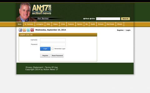 Screenshot of Login Page actionnews17.com - User Log In - captured Sept. 24, 2014
