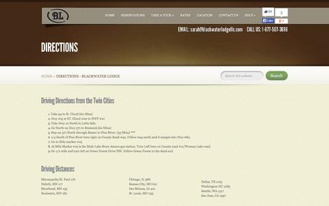 Screenshot of Maps & Directions Page blackwaterlodgellc.com - Directions - Blackwater Lodge | Blackwater Lodge - captured Sept. 30, 2014