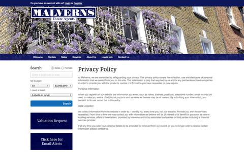 Screenshot of Privacy Page malverns.co.uk - Malverns Estate Agents - captured Oct. 4, 2014
