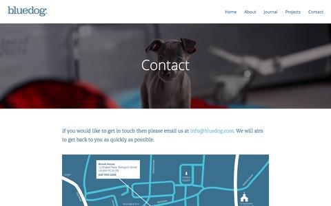 Screenshot of Contact Page bluedog.com - Contact | Blue Dog Design - captured Jan. 23, 2016
