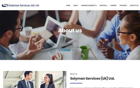 Screenshot of About Page solymanservices.com - About – Solyman Services (UK) Ltd - captured May 30, 2019