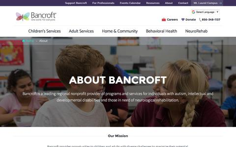 Screenshot of About Page bancroft.org - About Us | Bancroft - captured Aug. 1, 2018