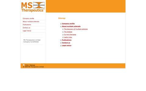 Screenshot of Site Map Page mstherapeutics.com - MS-Therapeutics - Company profile - captured May 27, 2017