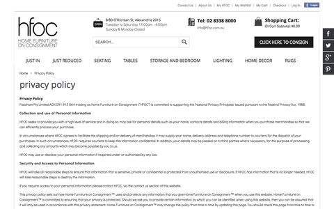Screenshot of Privacy Page hfoc.com.au - Privacy Policy - captured Oct. 2, 2014