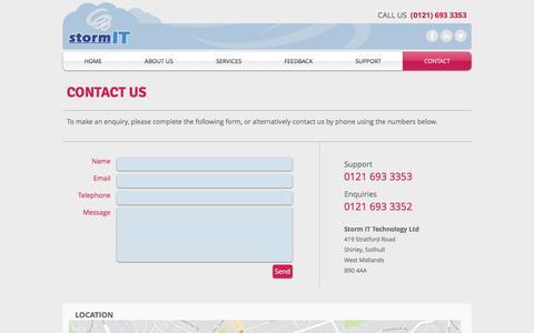 Screenshot of Contact Page stormit.net - Storm IT | Contact Us - captured Oct. 25, 2017