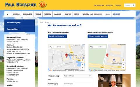 Screenshot of Contact Page paulroescher.nl - Contactpagina | Paul Roescher Megastores - captured May 15, 2017