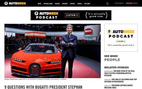 Screenshot of Team Page autoweek.com - A conversation with Bugatti head Stephan Winkelmann - captured Feb. 9, 2019