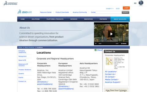 Screenshot of Locations Page accelrys.com - All Locations - captured Oct. 10, 2014