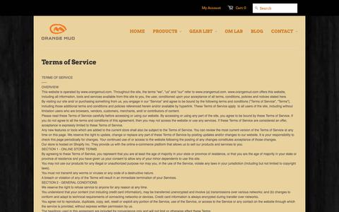 Screenshot of Terms Page orangemud.com - Terms of Service   Orange Mud for no bounce hydration - captured Oct. 9, 2014